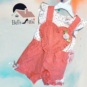 Little Lass Baby Girl Heart Overalls